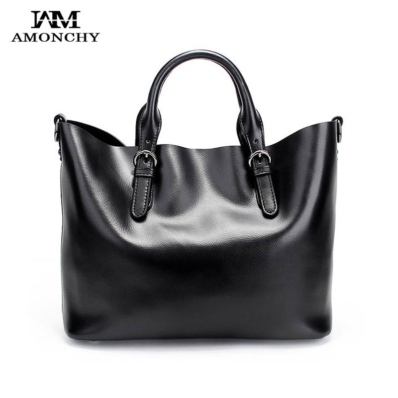 AMONCHY Brand Genuine Leather Women Handbags Cowhide Totes Bags Natural Skin Ladies Shoulder Bags Large Composite Bag Sac Femme amonchy genuine leather men shoulder bags handbags crocodile male bags natural leather man messenger bag alligator totes sac m50
