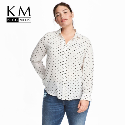 US $12.42 34% OFF|Kissmilk Women Plus Size Button Down Dot Print Shirt Long  Sleeve Turn Down Collar Basic Tops Large Size Casual Loose Shirt-in ...