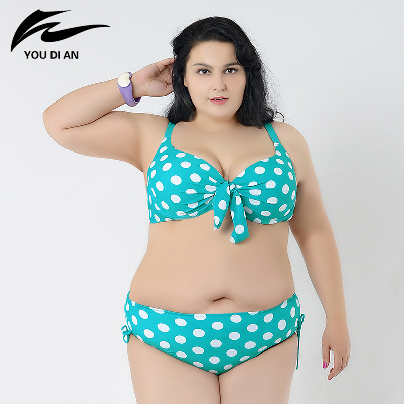 2016 new dot bikinis women plus size swimwear push up bikini set women plus size swimsuit lady bathing suit sexy biquini 5XL жакет hugo hugo boss hugo hugo boss hu286ewjtv96
