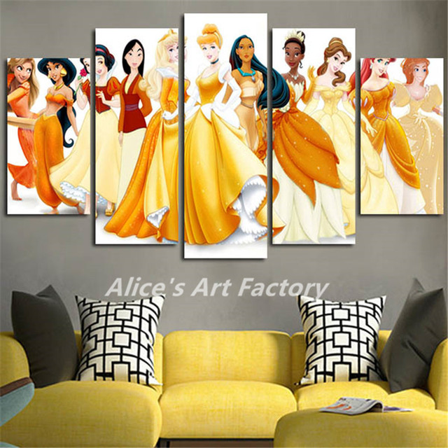 5Piece Wall Art Pictures Canvas Art Catoon Princess Oil Painting ...