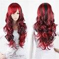Длинные черный и красный парик ombre пастель парик моменты 2 цвет жаропрочных синтетические парики женщин лолита естественные волнистые парики косплей