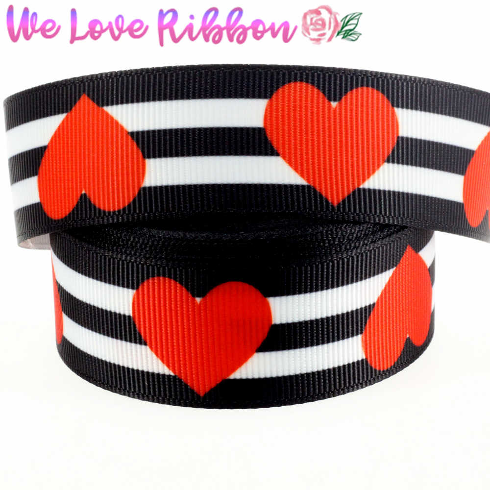 "1 ""25 Mm Zebra Stripes Merah Hati Dicetak Grosgrain Pita Diy Valentine Hadiah Bowknots 10 Yards/Roll MD180425-38-14328"