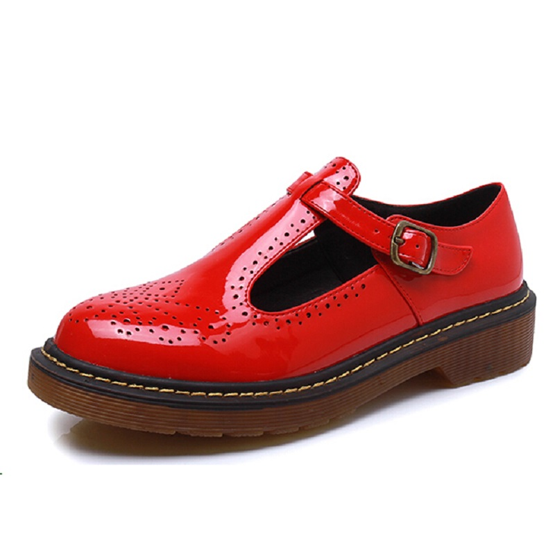 New Fashion Spring Autumn Shoes Woman Retro Vintage T Strap Mary Janes Brogues Oxfords Shoes For Women College Flat Casual Shoes new 2015 autumn flat t strap oxford shoes for women vintage british style round toe low thick heels women oxfords shoes woman