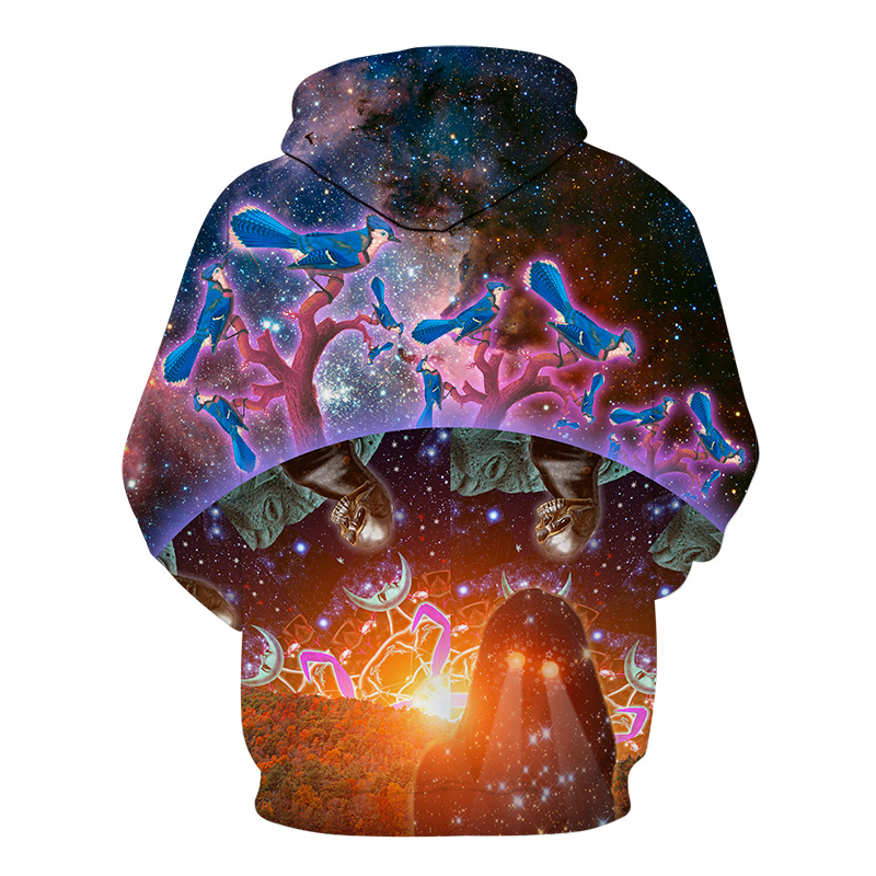 Hot Sale 3D Pritned Sweatshirt Men Women Hoodies Galaxy Skull Bird Pullover Fashion Novelty Boy Tracksuits 6xl Brand Jacket Coat