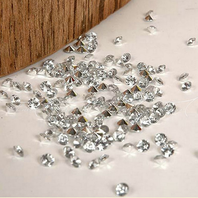 6.5mm Silver plated bottom transparent clear of the DIY confetti acrylic diamond wedding party decoration 1000pcs 002001010