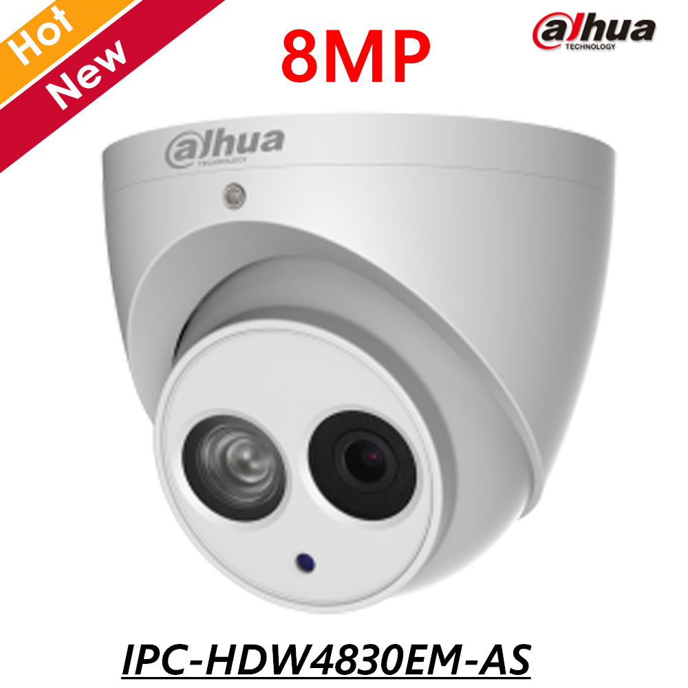 8MP English POE Dahua IP Camera IPC-HDW4830EM-AS 4mm Fixed lens IR distance 50m 8MP Security Camera Built-in Mic Support sd card