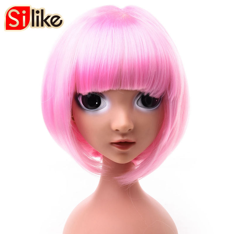 Silike 6 inch Straight Short Bob Wigs for Black Women Synthetic Hair Pink Brown black Wigs with Bangs for Cosplay Party 1 pack