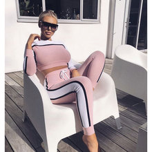 Mujer Sports Suit Yoga Clothing Women High Waist Set 2 Pieces 2019 Autumn Tops And Pants Ladies Leisure Hooded