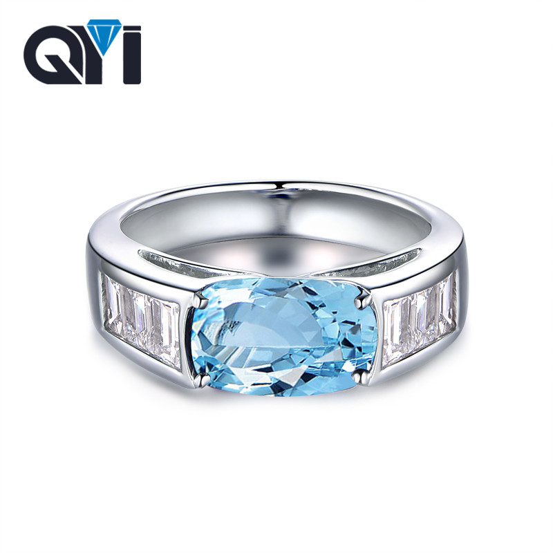 QYI Fashion Natural Topaz Rings 925 Sterling Silver 4 ct Oval Cut Sky blue Topaz Jewelry For Women Natural Gemstone ringsQYI Fashion Natural Topaz Rings 925 Sterling Silver 4 ct Oval Cut Sky blue Topaz Jewelry For Women Natural Gemstone rings