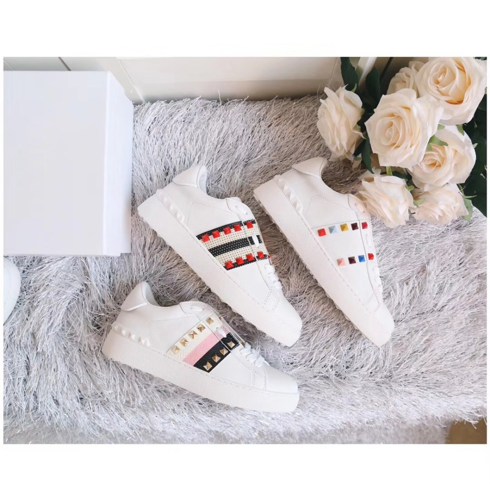 New arrival woman color Rivet decoration,Lace-Up genuine leather White Shoes fashion Sweethearts sneaker Casual Shoes