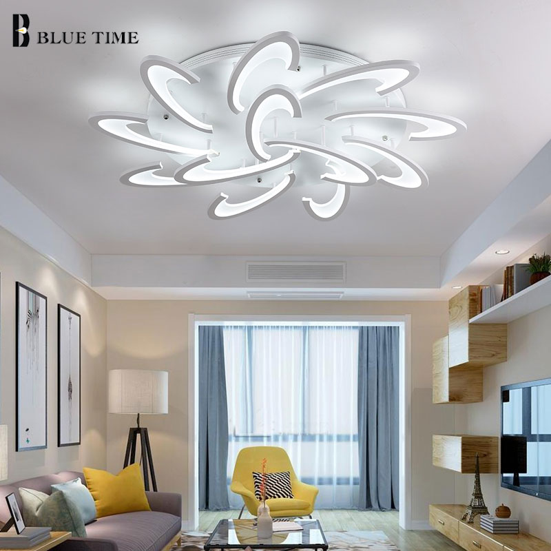 Blue Time Nice White Color Modern Pendant Lights For Living Room Dining Room Study Room Acrylic 75w LED Pendant Lamp Fixtures.
