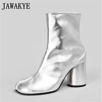 JAWAKYE Genuine leather silver balck Short Boots high heels split toes apart runway style Ankle Boots for women Zapatos mujer