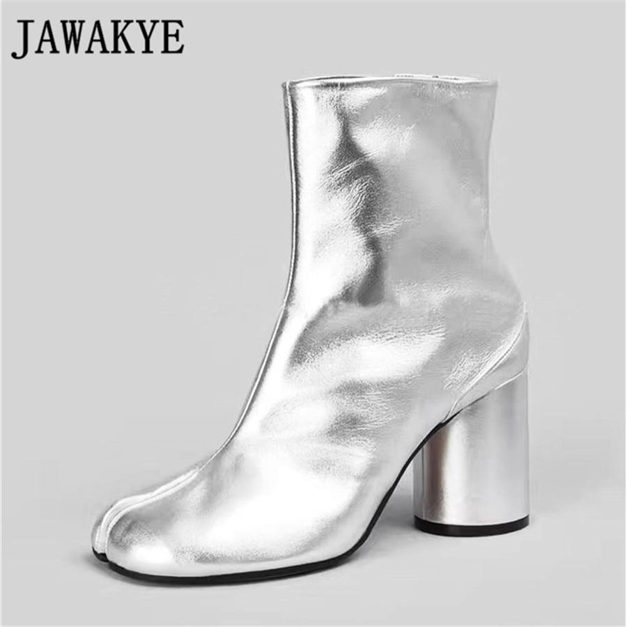 JAWAKYE Véritable en cuir argent balck Courtes Bottes talons hauts split orteils en dehors piste style Cheville Bottes pour femmes Zapatos mujer