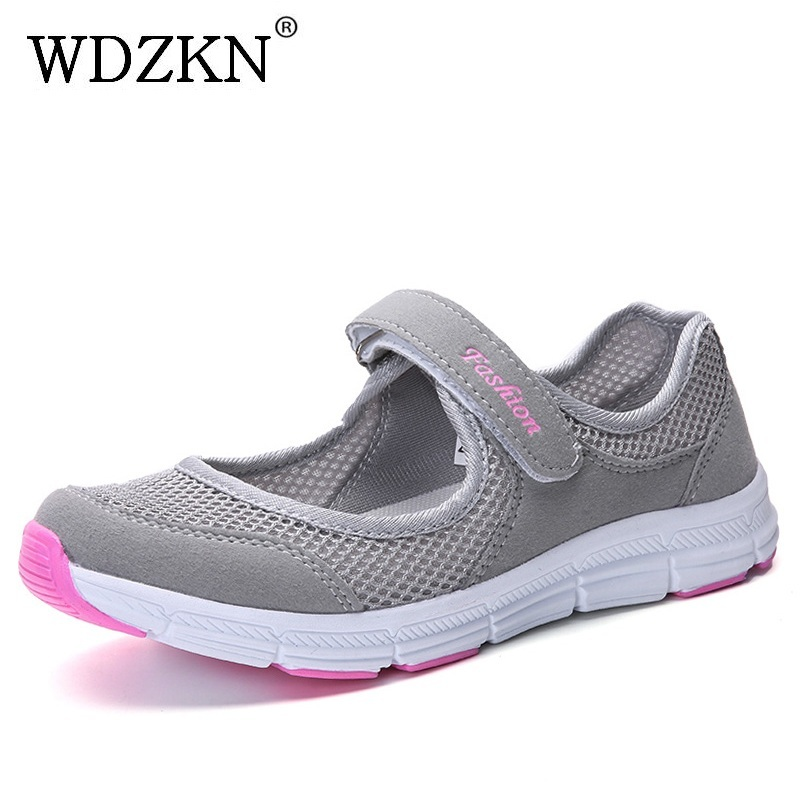 WDZKN 2018 Breathable Air Mesh Women Casual Shoes Comfortable Lightweight Women Flat Shoes Shallow Sneakers Woman Summer Shoes fashion women flats breathable mesh women casual shoes lightweight platform gym shoes comfortable women summer shoes 2017 rdt103