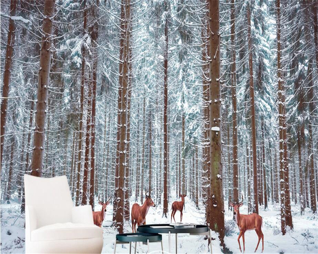 Beibehang Custom Wallpaper Beautiful Snowy Forest Deer Large Wallpapers TV Living Room Background Wall 3d