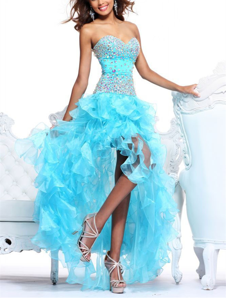 In Stock Heavily Beaded And Ruffles Organza Aqua High-low Dress Champagne Short Front Long Back Gown New Size 6-8-10-12-14-16