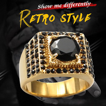 KLDY 316l stainless steel ring men black stone ring gold jewelry man high quality brand wedding jewelry unique gift for lover недорого