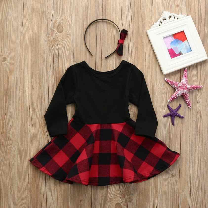 2f9bb30200fbd 12M-4T Infant Toddler Baby Girls Plaid A-Line Long Sleeve Dresses with  Headbands Clothes Outfits children's dresses for girls