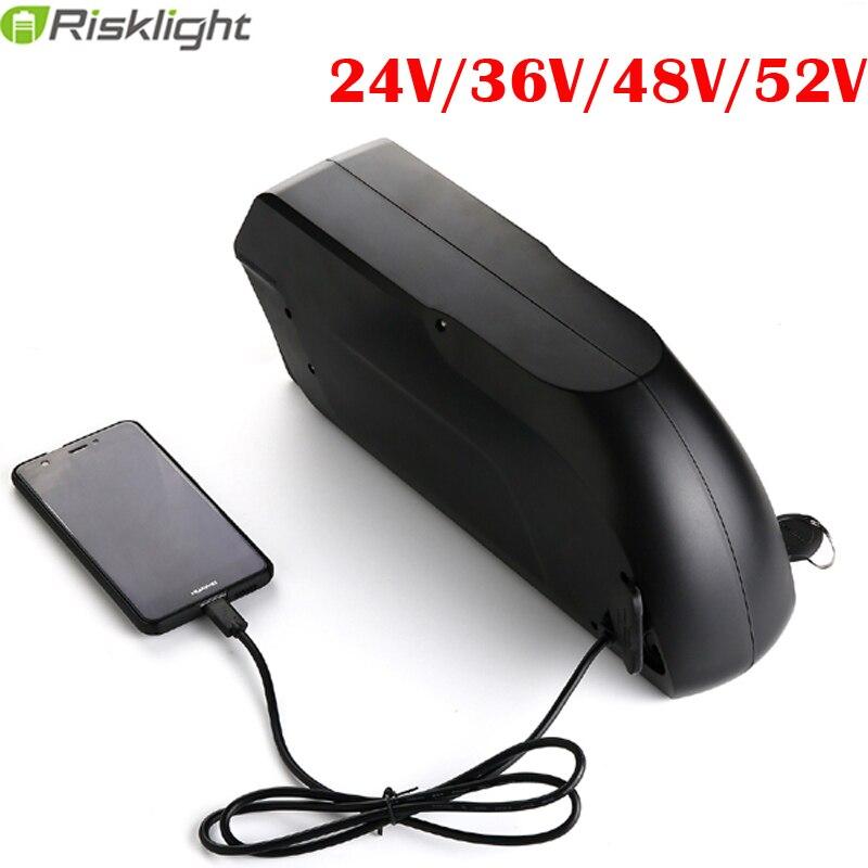 Vélo électrique 24 V 36 V 48 V 52 V 10 15 12.5 16 17 20AH 18650 batterie au Lithium rechargeable USB pour 500-1500 W Ebike