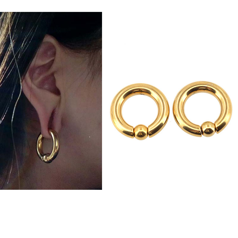 Body Jewelry Body Punk Wholesale 10 Pairs/set Piercing Earring Ring Ear Stretcher Expander Bcr Gold Captive Ball Closure Nose Septum Ring
