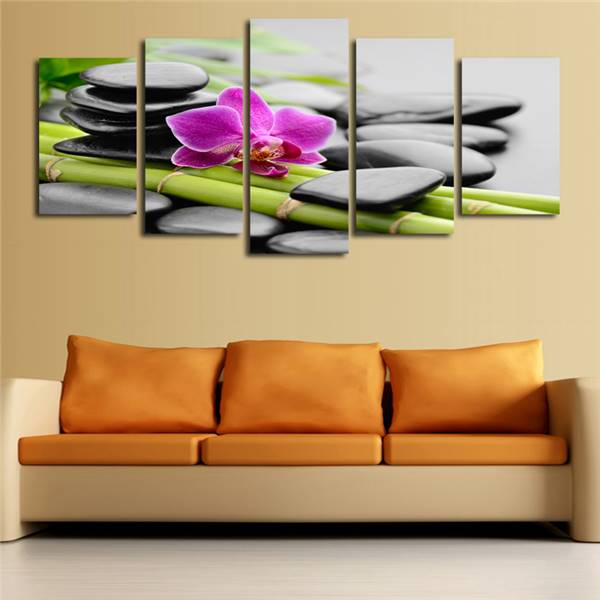 5 Pcs(No Frame)Black Stone Flowers Picture Print Painting On Canvas ...