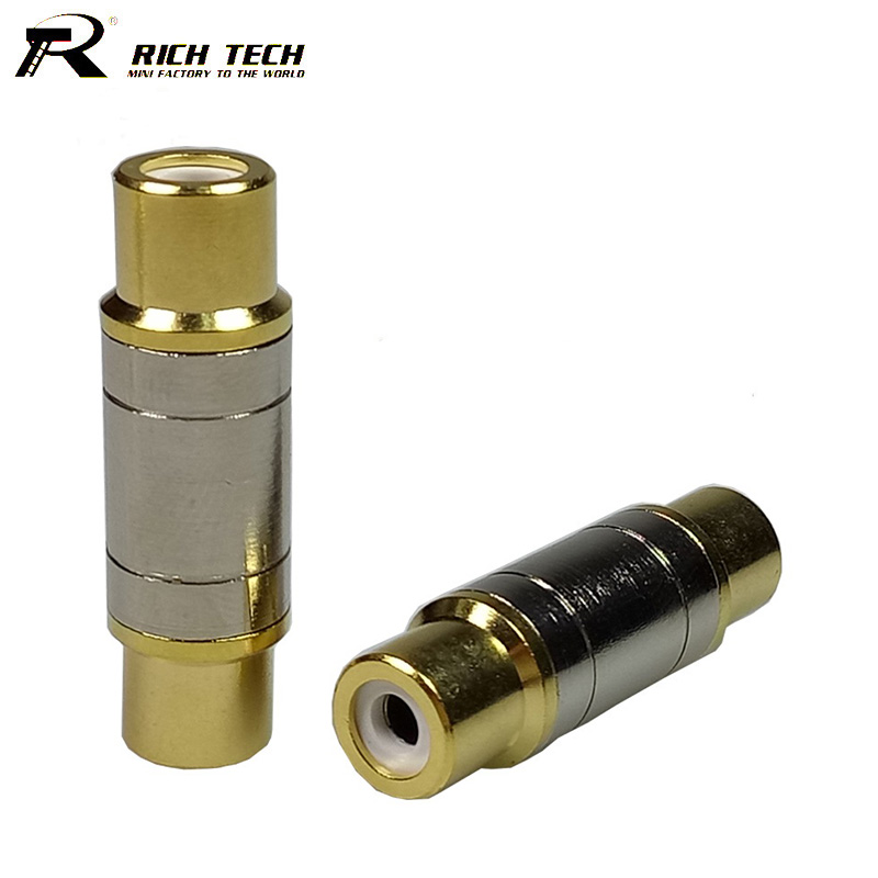 10pcs/lot Dual RCA Connectors High Quality RCA Female to Female Adapter Gold Plated Speaker Jack Socket Audio Cable Connector 1pcs high quality 6 35mm 1 4 mono plug to rca m f male female jack audio adapter connector gold plated industrial terminals