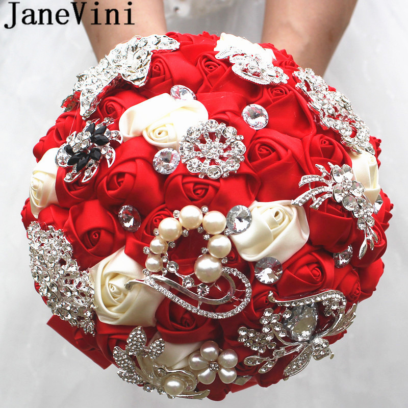 JaneVini Luxury Beaded Red Wedding Bouquets for Brides Satin Rose Mariage Crystal Brooches Rhinestones Pearls Bridal Bouquet New