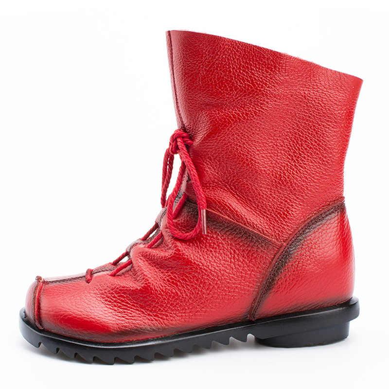LAKESHI 2019 Vintage Stijl Echt Leer Vrouwen Laarzen Platte Laarsjes Koeienhuid vrouwen Schoenen Ritssluiting Enkellaars zapatos mujer