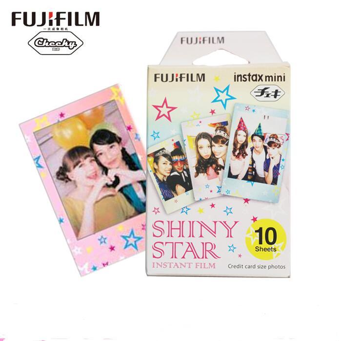 Original Fujifilm Shiny star Instax Mini 8 9 película (10 hojas) para Polaroid mini cámara instantánea mini 7 s 25 50 S 90 300 compartir SP-1