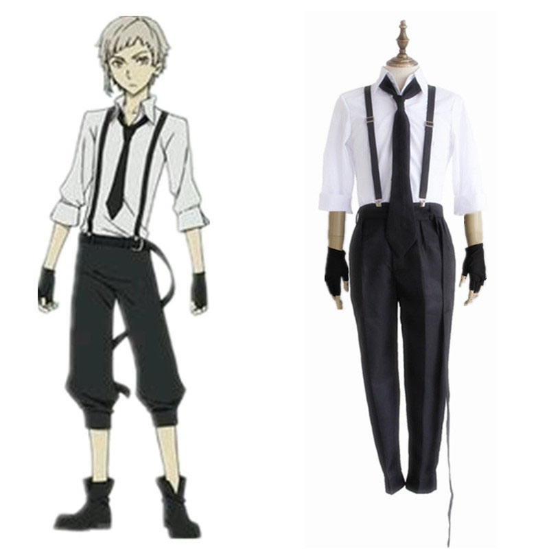 Anime Bungo Stray Dogs Detective Atsushi Nakajima Cosplay Shirt & Strap Pants & Tie & Gloves Uniform Suit Halloween Men Costume