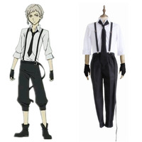 Anime Bungo Stray Dogs Detective Atsushi Nakajima Cosplay Shirt & Strap Pants & Tie & Gloves Uniform Suit Halloween Men Costume