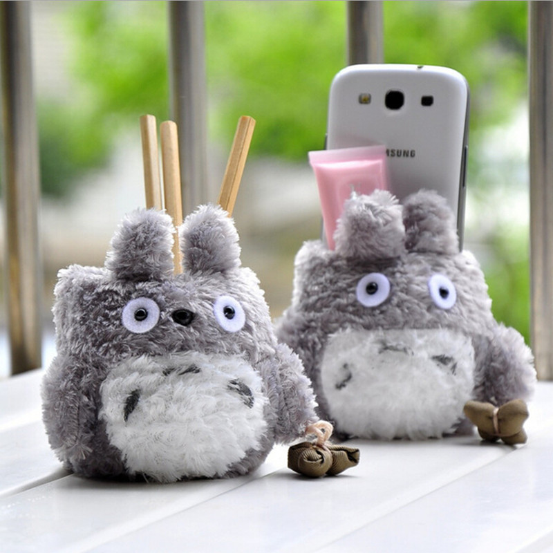1pc 10cm Cartoon Totoro Plush Pencil Vase Lovely Anime Totoro Plush Toy Brush Pot Creative Popular Toy Free Shipping Brinquedos
