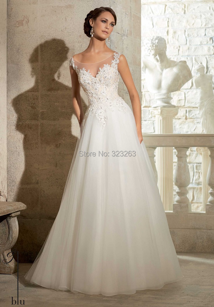 Romantic Beaded Cap Sleeve Organza Princess Wedding Dresses Sheer