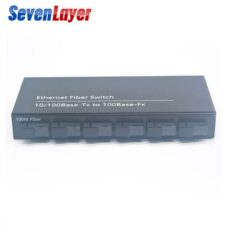 Spirited 10/100m 2 Rj45 And 6 Sc Fiber Port Fast Ethernet Switch Converter 20km Ethernet Fiber Optical Media Converter Single Mode Selected Material Security & Protection