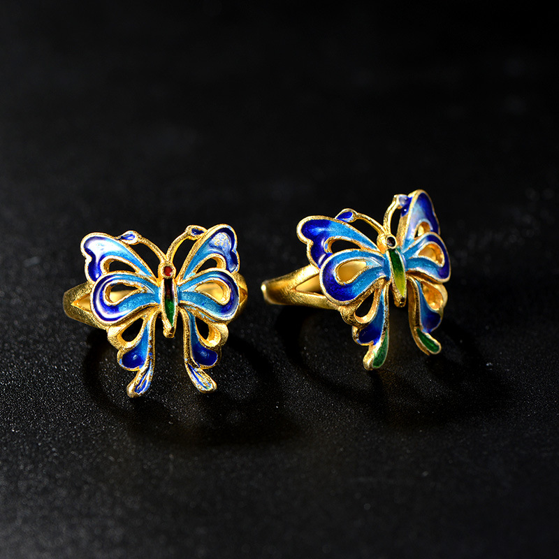 Cloisonne filigree Enamel Jewelry Sukhothai 925 handmade silver plated butterfly ring bluing process cloisonne jewelry enamel round ring european and american style