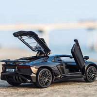 1 32 Alloy Diecast Aventador Pull Back Model Toy With Light Flashing Sound Gift Toy For