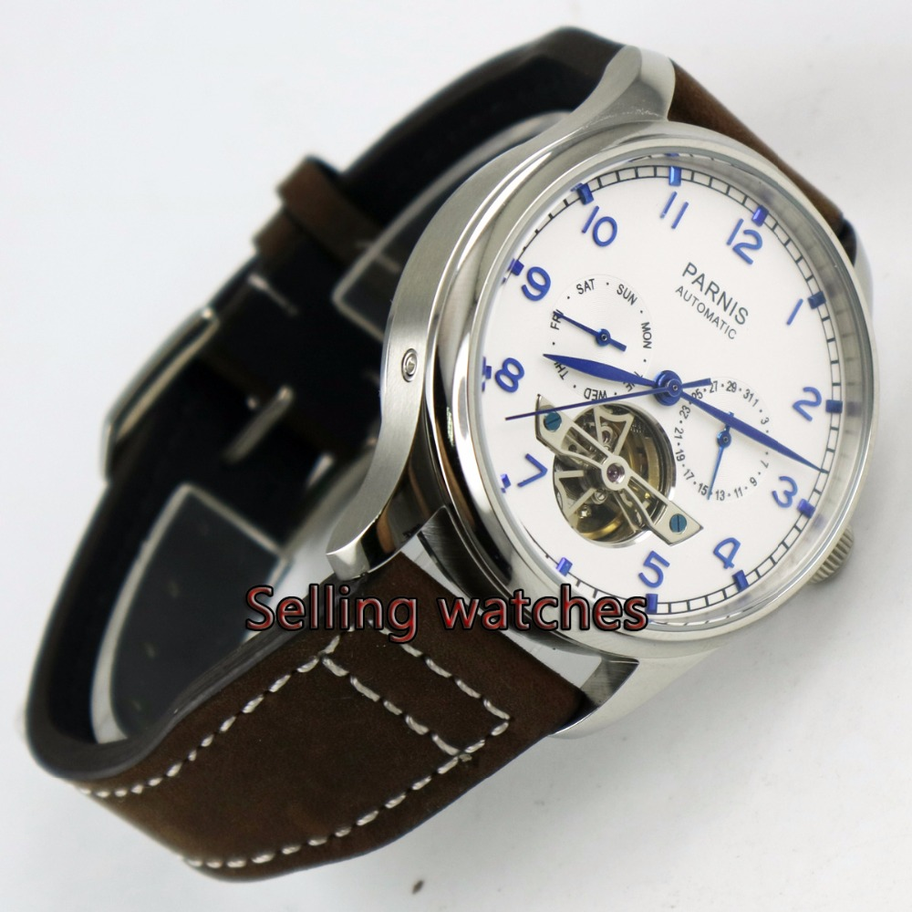 Parnis watch 43mm power reserve White dial date Automatic Self-Wind Men's watch casual 43mm parnis automatic power reserve white dial blue numbers silver watch case business watch men