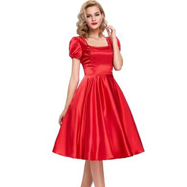 Fashion Womens Puff Sleeve Dresses 50s Vintage Short Swing