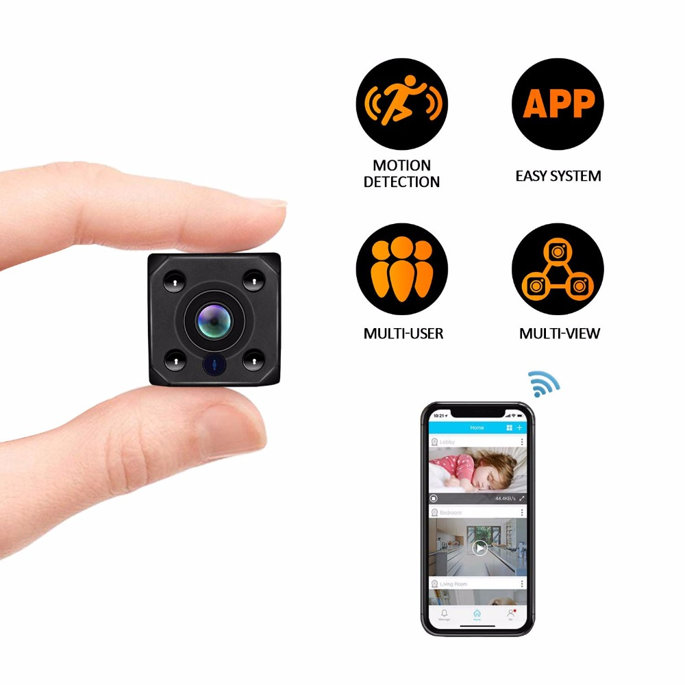 HD 1080P WiFi mini camera with Auto Night Vision Nanny micro Cam Home Office Surveillance Security Camera Motion Detection Alarm image