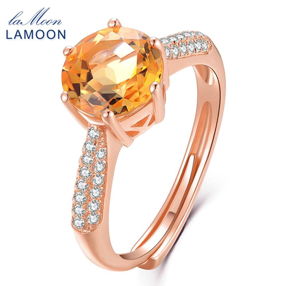 LAMOON- Luxury Pave Setting 8mm 2ct Citrine 925 ստերլինգ արծաթյա զարդերի հարսանեկան մատանի S925 կանանց համար LMRI001