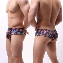 Перекрестная граница, европейский и американский большой размер, u-образный большой мешочек, напечатанный мужской маленький плоский угол, сексуальное нижнее белье, B166