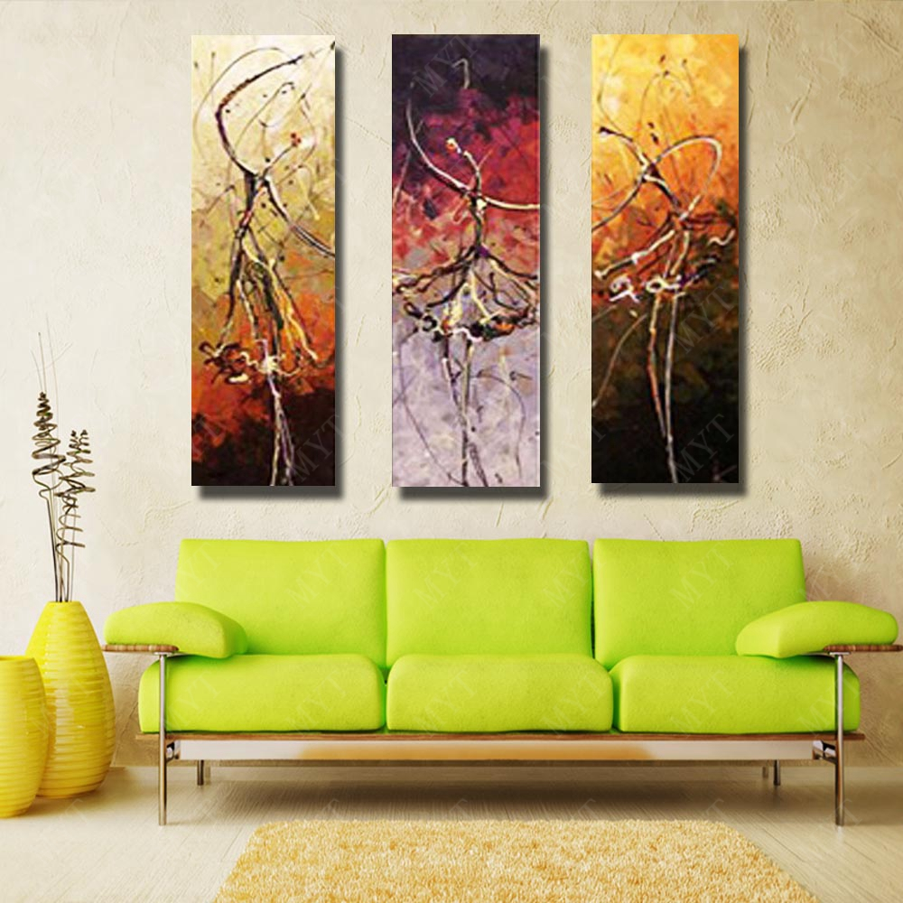 3 Peices Dance Girl Modern Knife Painting Living Room Wall Decor ...