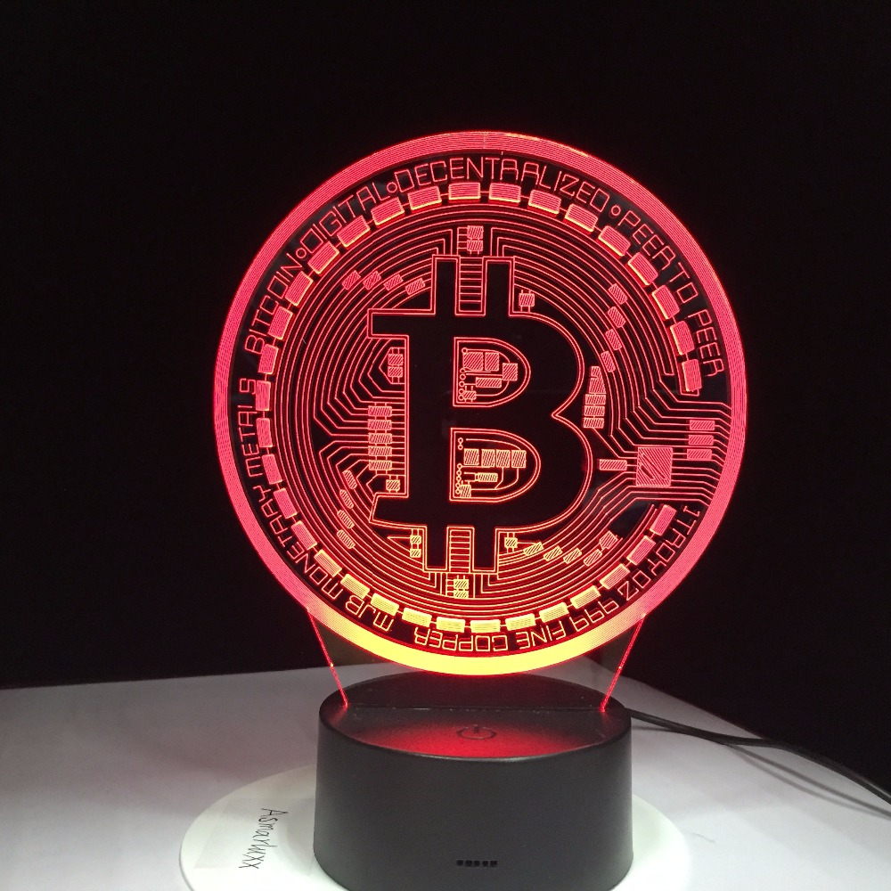 Bitcoin Sign Modelling Night Lights Remote Control 3D Led Colorful Usb Coin Symbol Desk Lamp Bedroom Sleep Lighting Decor Gifts