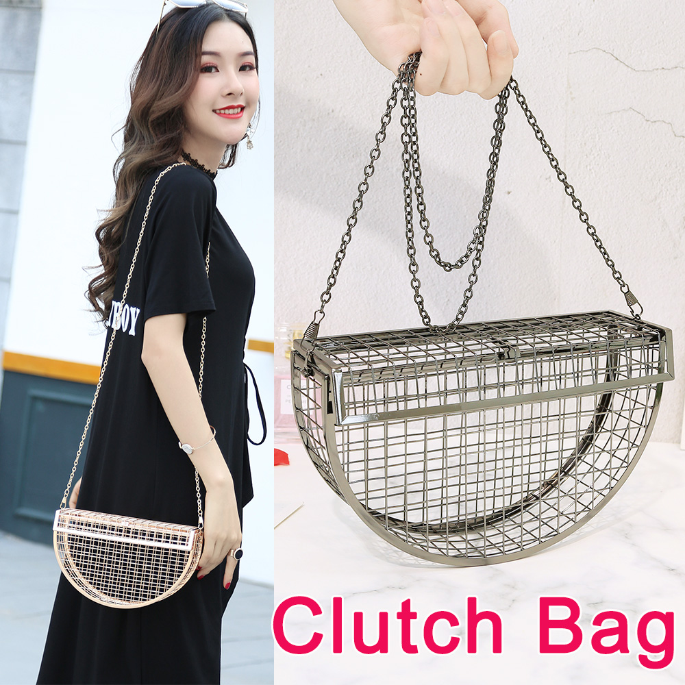 Image 3 - Women Clutch Evening Bag Metal Hollow Bag Banquet Party Shoulder Crossbody Bag Wedding Cage Bag Geometric Handbag bolsa feminina-in Top-Handle Bags from Luggage & Bags
