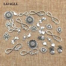 LJJAGLL металлический сплав 20 шт./лот смешанные типы посеребренные ЛЮБОВЬ браслет с шармами цветами цепочки и ожерелья Разъемы Diy ручной работы ALJQ020