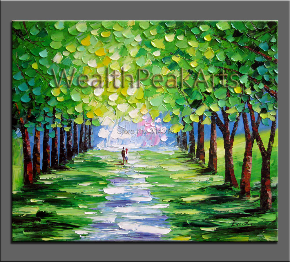 Landscape painting original oil painting couple painting for Palette knife painting acrylic