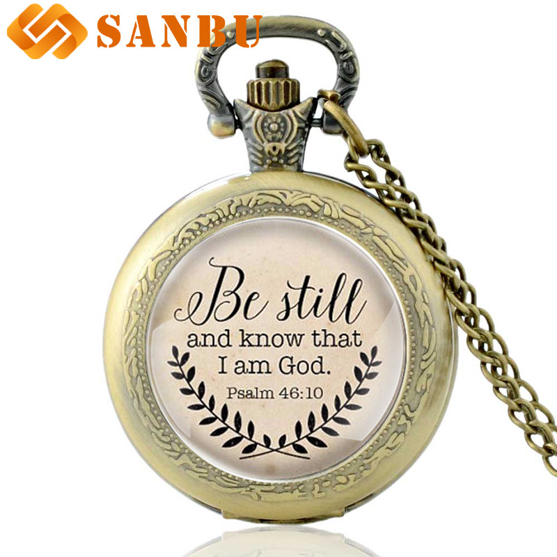 Hot Sale Bible Verse Necklace 'Be Still And Know That I Am God' Pendant Psalm 46:10 Quote Handmade Necklaces Quartz Pocket Watch