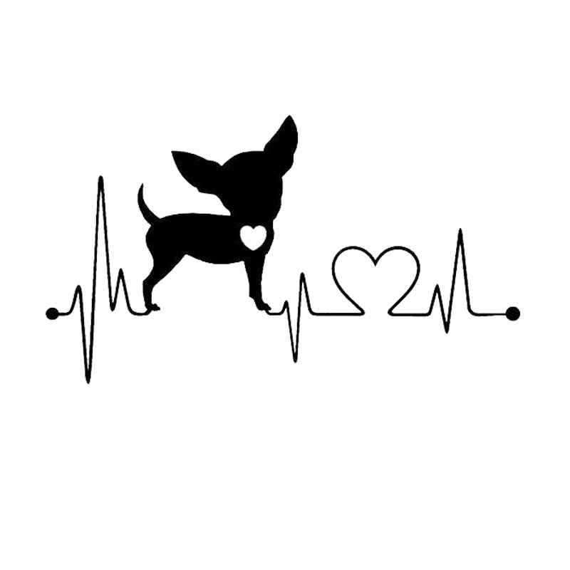 15.2*8.6CM Chihuahua Heartbeat Dog Car Styling Cute Funny Animal Decorative Stickers Black/Silver C6-1155 color fest chihuahua