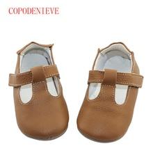 COPODENIEVE Új meleg eladó Szilárd Valódi Bőr Lány Fiúk kézzel készített kisgyerek kemény talp első gyalogló baba bőr cipő 20 szín