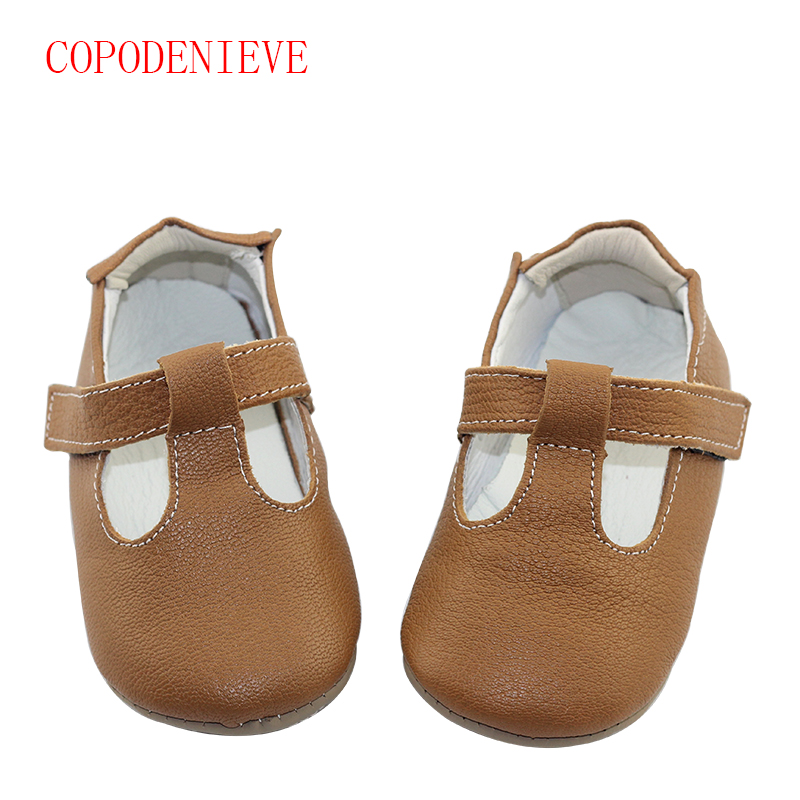 COPODENIEVE New hot sale Solid Genuine Leather Girl Boys handmade Toddler hard sole first walkers font